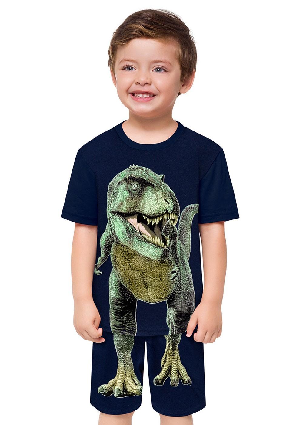 Pijama Infantil Masculino Dino Azul Marinho Brilha no Escuro – Kyly