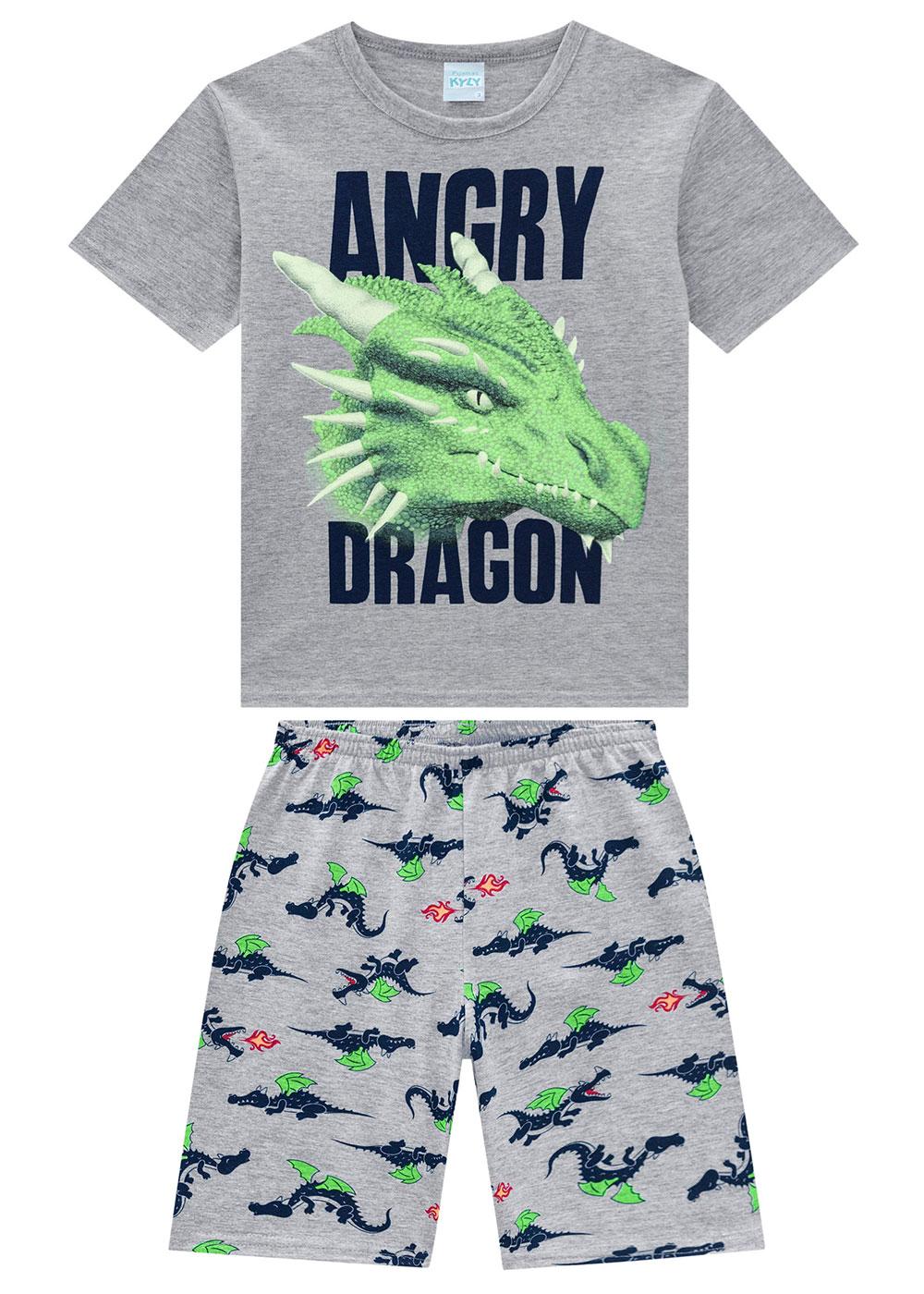 Pijama Infantil Masculino Dragão Cinza Brilha no Escuro - Kyly