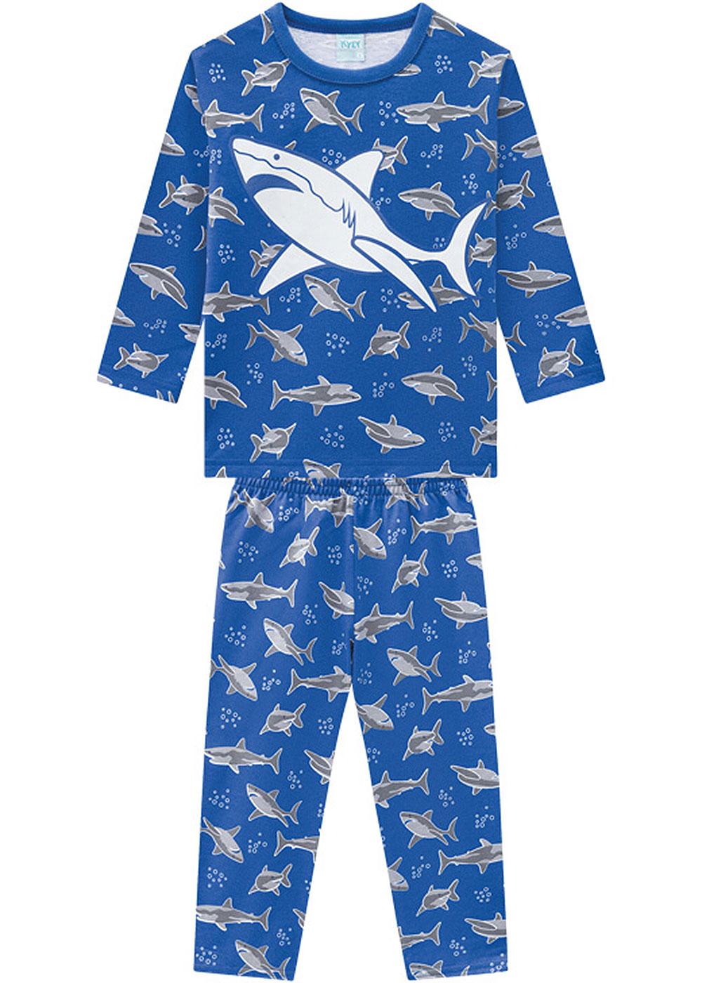 Pijama Infantil Masculino Inverno Azul Shark Brilha no Escuro - Kyly