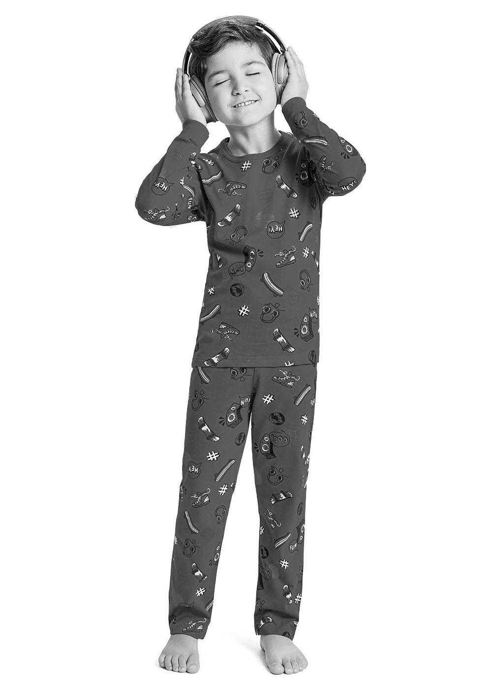 Pijama Infantil Masculino  Inverno Azul Dinossaurs Malwee