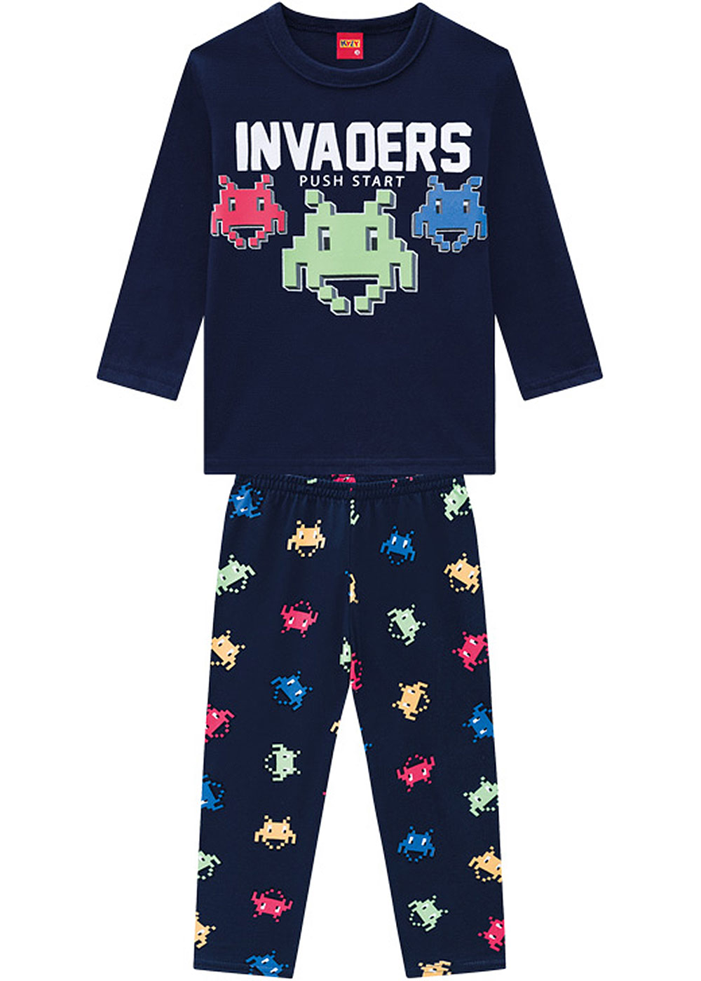 Pijama Infantil Masculino Inverno Marinho Invaders Kyly