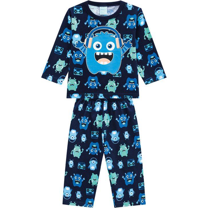 Pijama Infantil Masculino  Inverno Azul Monster Kyly