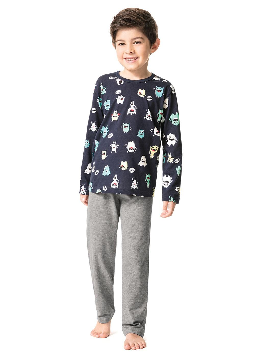 Pijama Infantil Masculino Inverno Azul Monsters Malwee