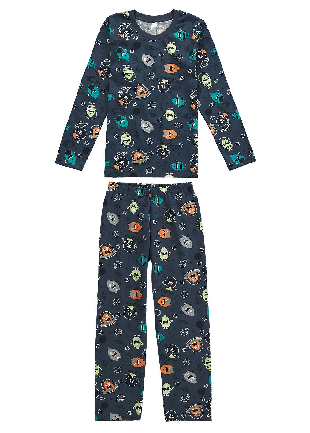 Pijama Infantil Masculino Inverno Azul Monstrinho Malwee