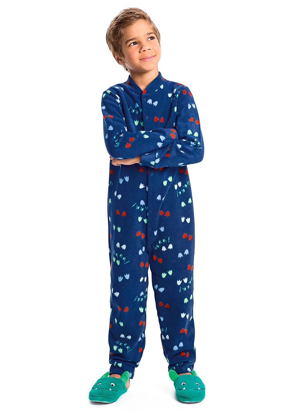 Pijama Infantil Masculino  Inverno Azul Pegadas  Malwee