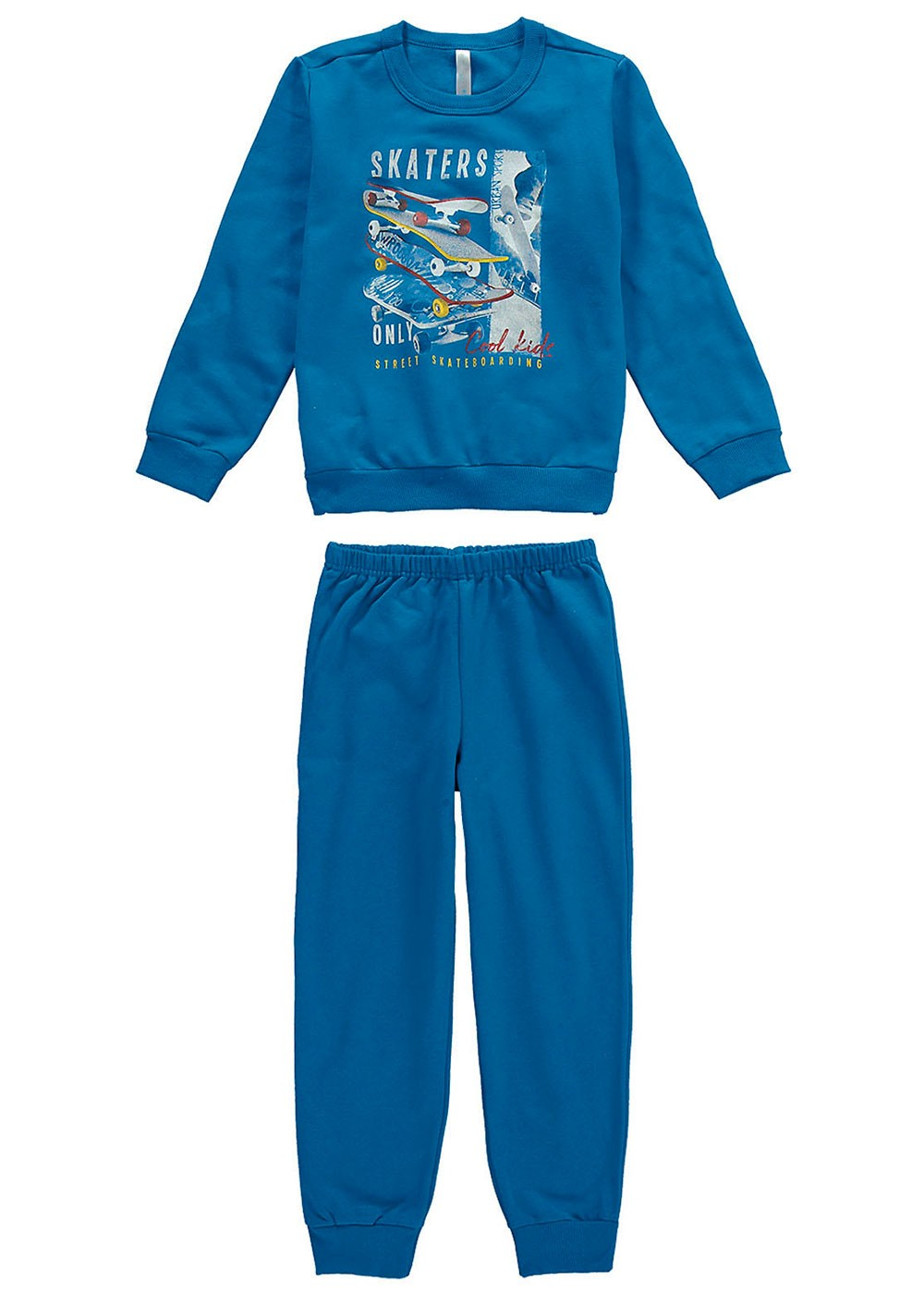 Pijama Infantil Masculino Inverno Azul Skaters Malwee
