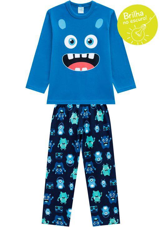 Pijama Infantil Masculino  Inverno Azul Smile Kyly