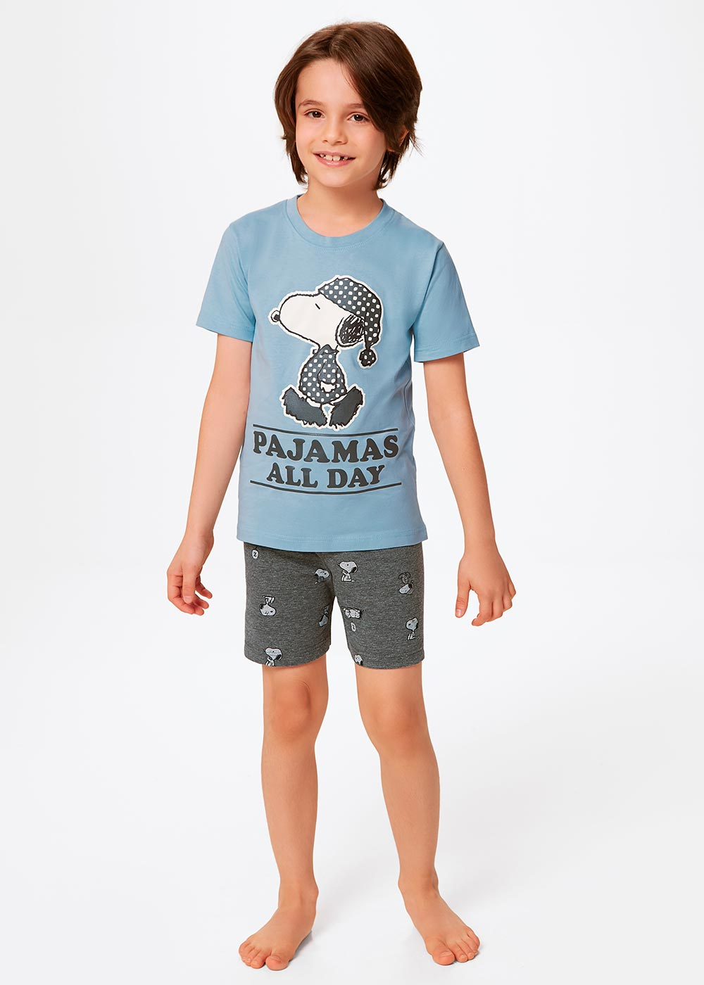 Pijama Infantil Masculino Verão Azul Snoopy - Malwee