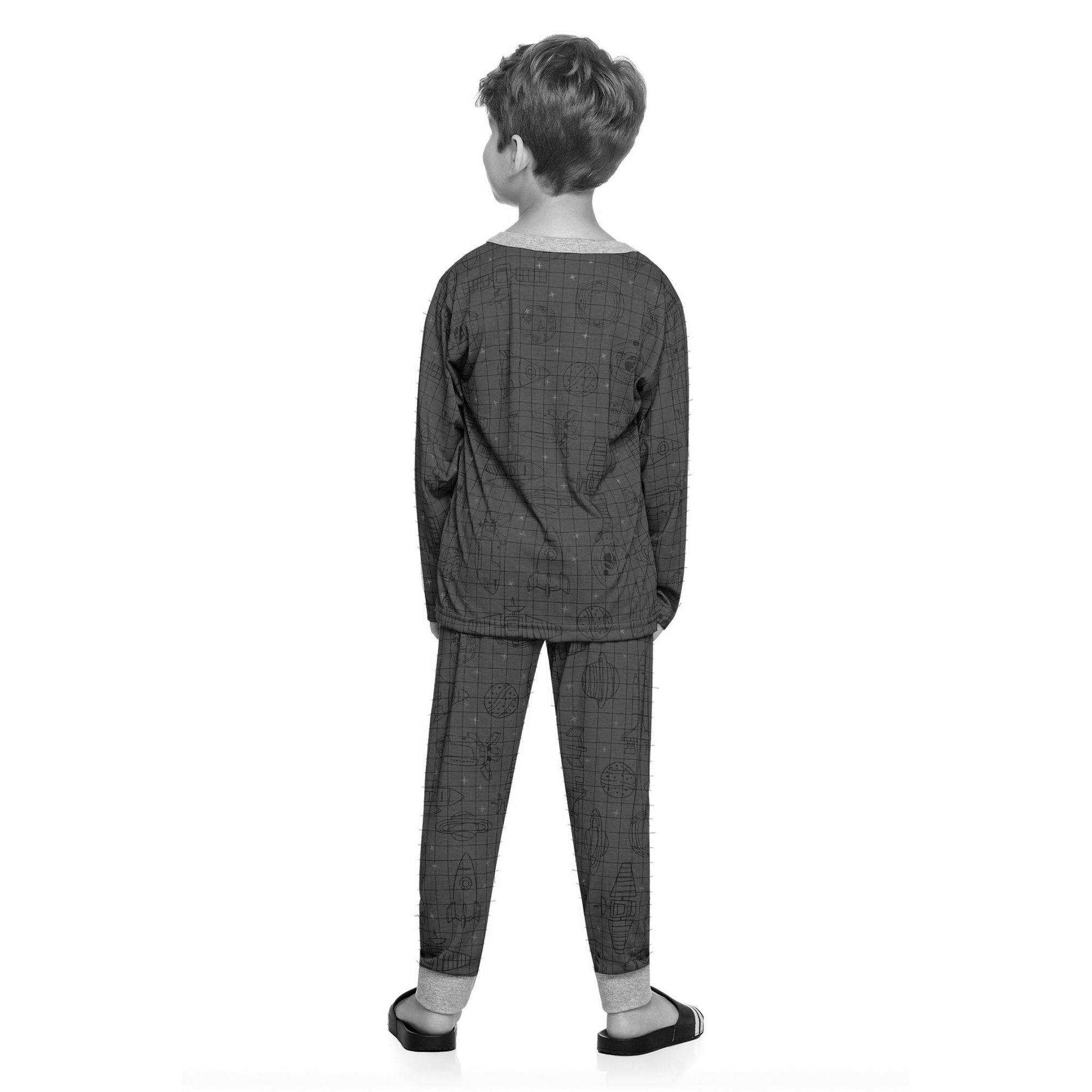 Pijama Infantil Masculino Inverno Azul Stars Elian