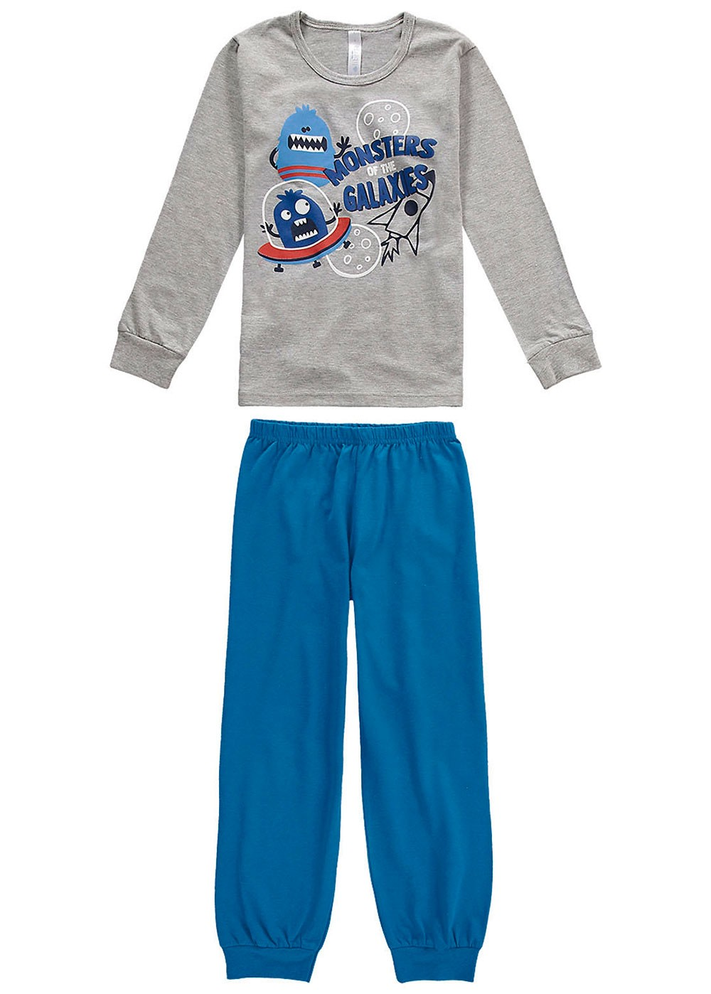 Pijama Infantil Masculino Inverno Cinza Monstrinho Malwee