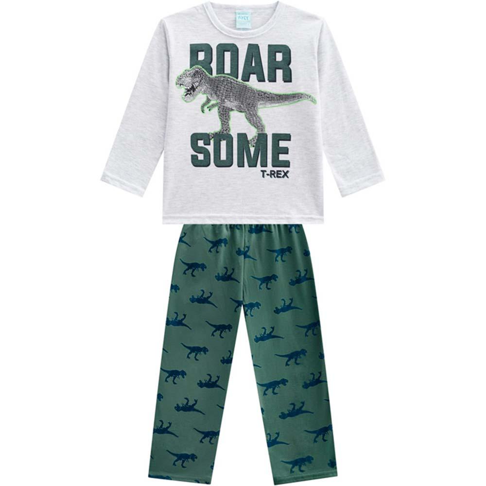 Pijama Infantil Masculino Inverno Cinza Some T-Rex Kyly