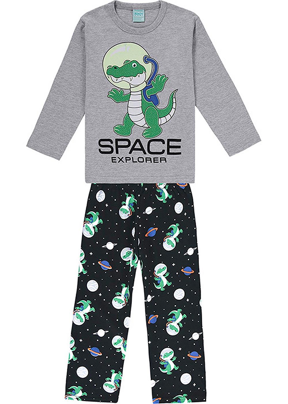 Pijama Infantil Masculino Inverno Cinza Space Explorer Brilha no Escuro - Kyly
