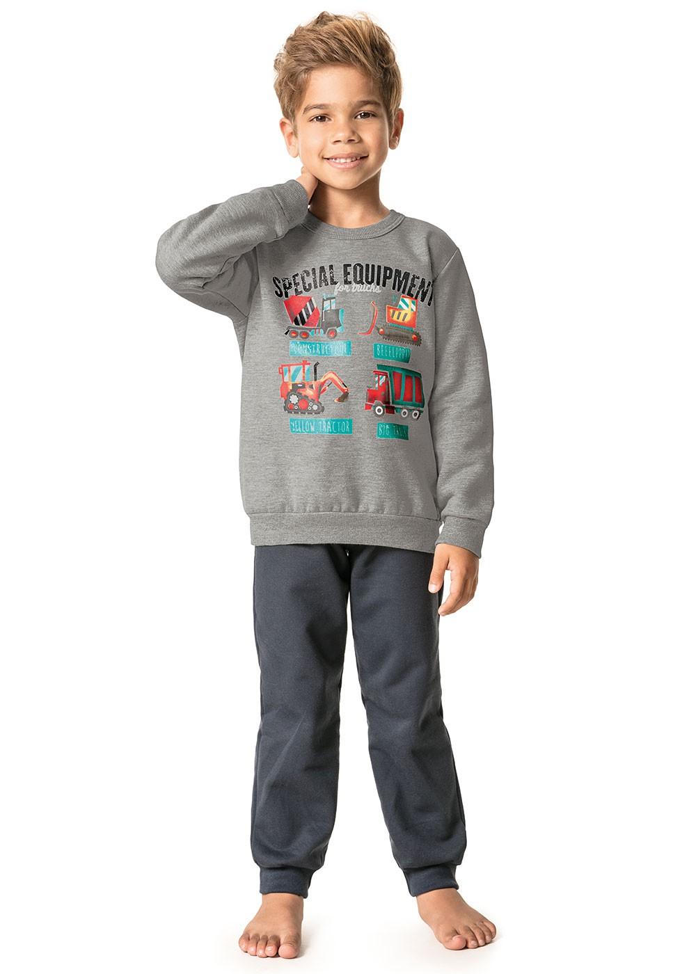 Pijama Infantil Masculino Inverno Cinza Special Malwee