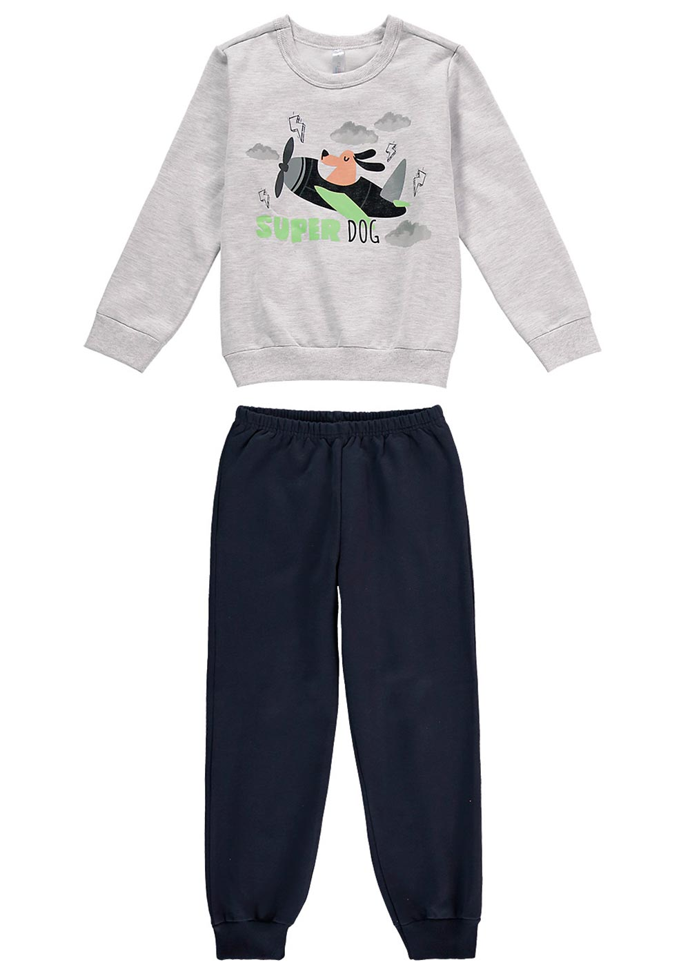 Pijama Infantil Masculino Inverno Cinza Super Dog - Malwee