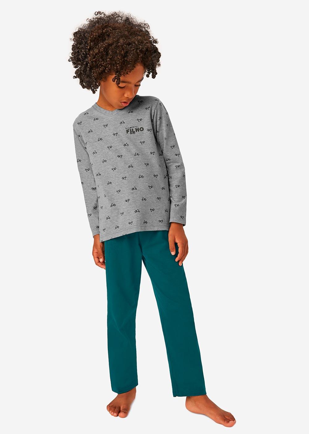 Pijama Infantil Masculino Inverno Cinza Super Filho - Malwee