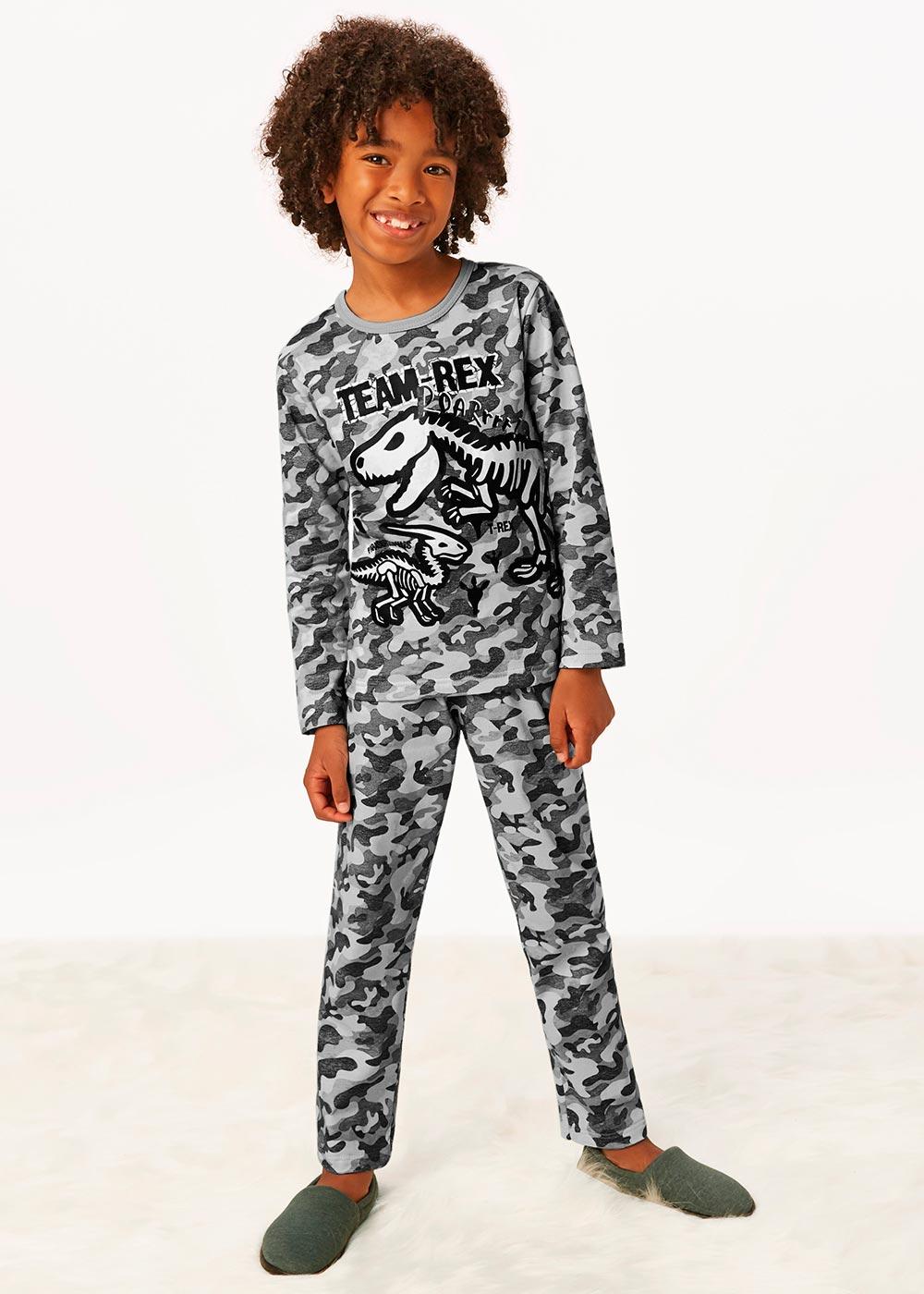 Pijama Infantil Masculino Inverno Cinza Team Rex - Malwee