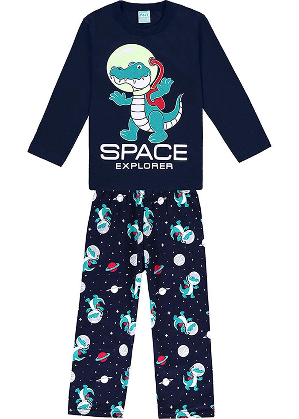 Pijama Infantil Masculino Inverno Marinho Space Explorer Brilha no Escuro - Kyly