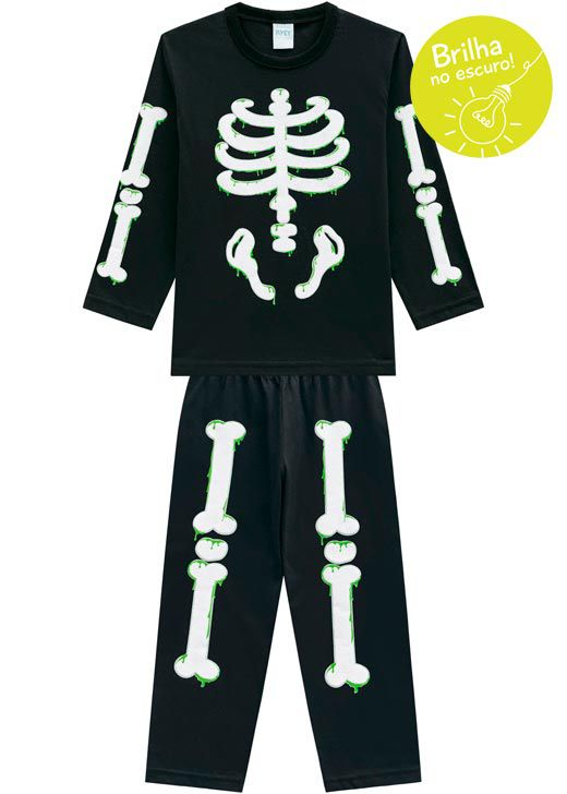 Pijama Infantil Masculino  Inverno Preto Bones Kyly