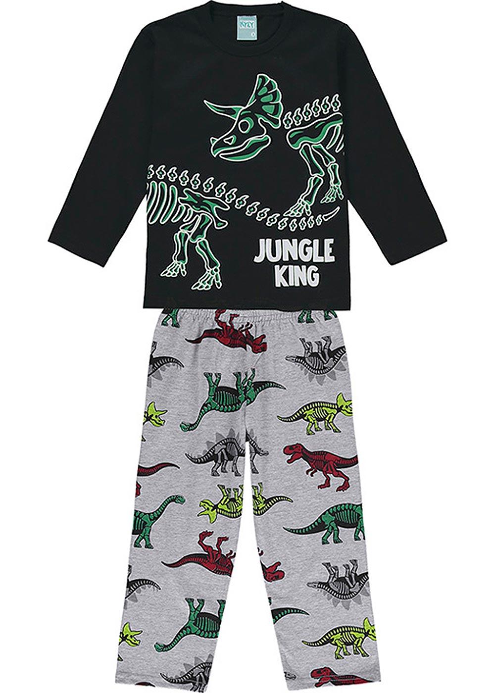 Pijama Infantil Masculino Inverno Preto Jungle King Brilha no Escuro - Kyly