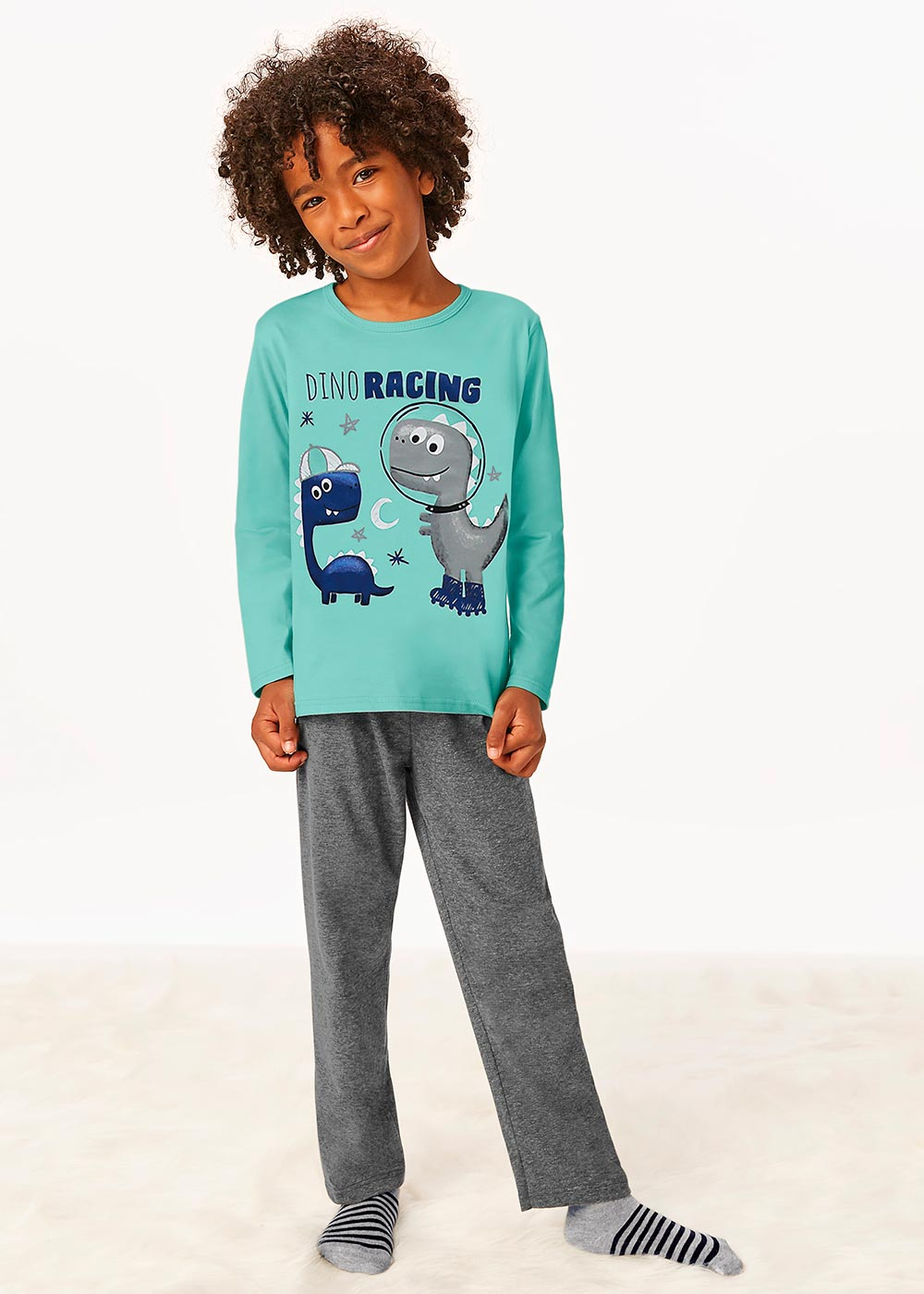 Pijama Infantil Masculino Inverno Verde Dino Racing - Malwee