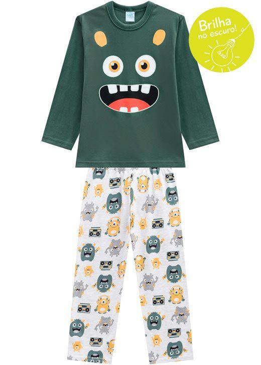 Pijama Infantil Masculino  Inverno Verde Smile Kyly