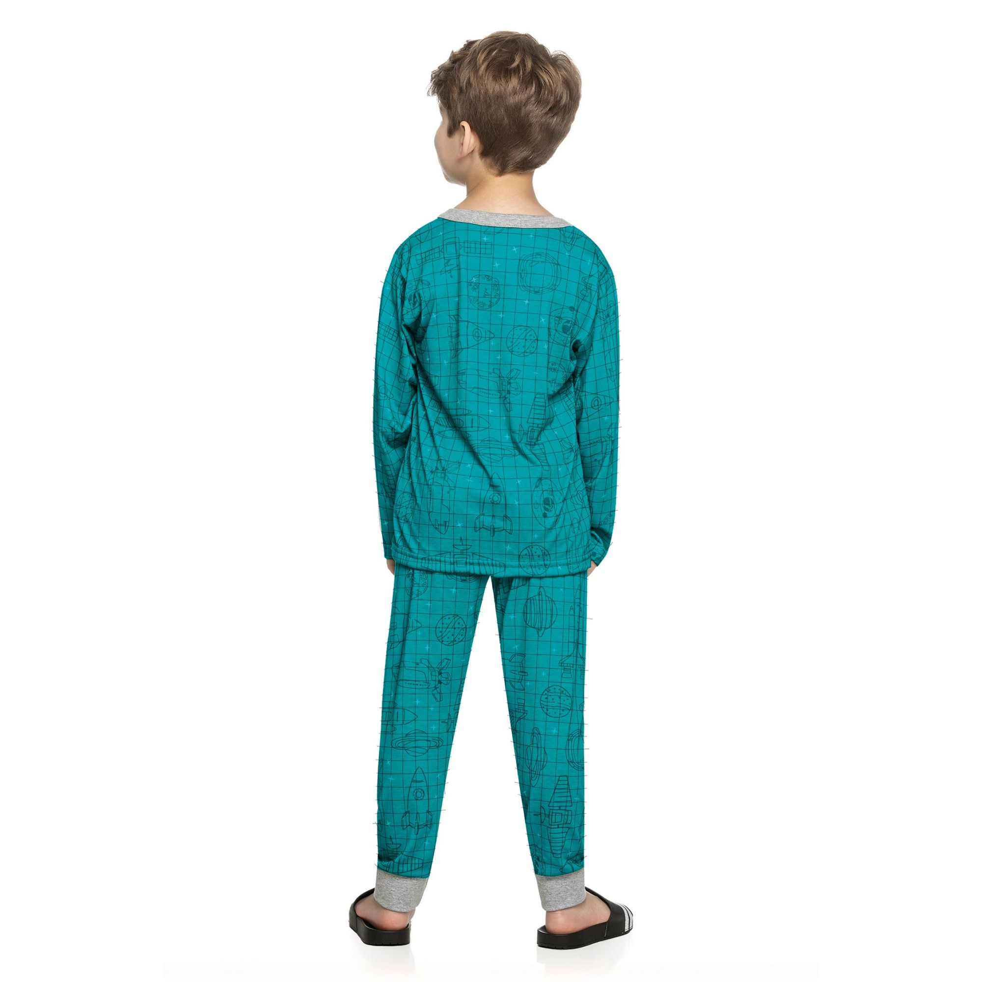Pijama Infantil Masculino Inverno Verde Stars Elian