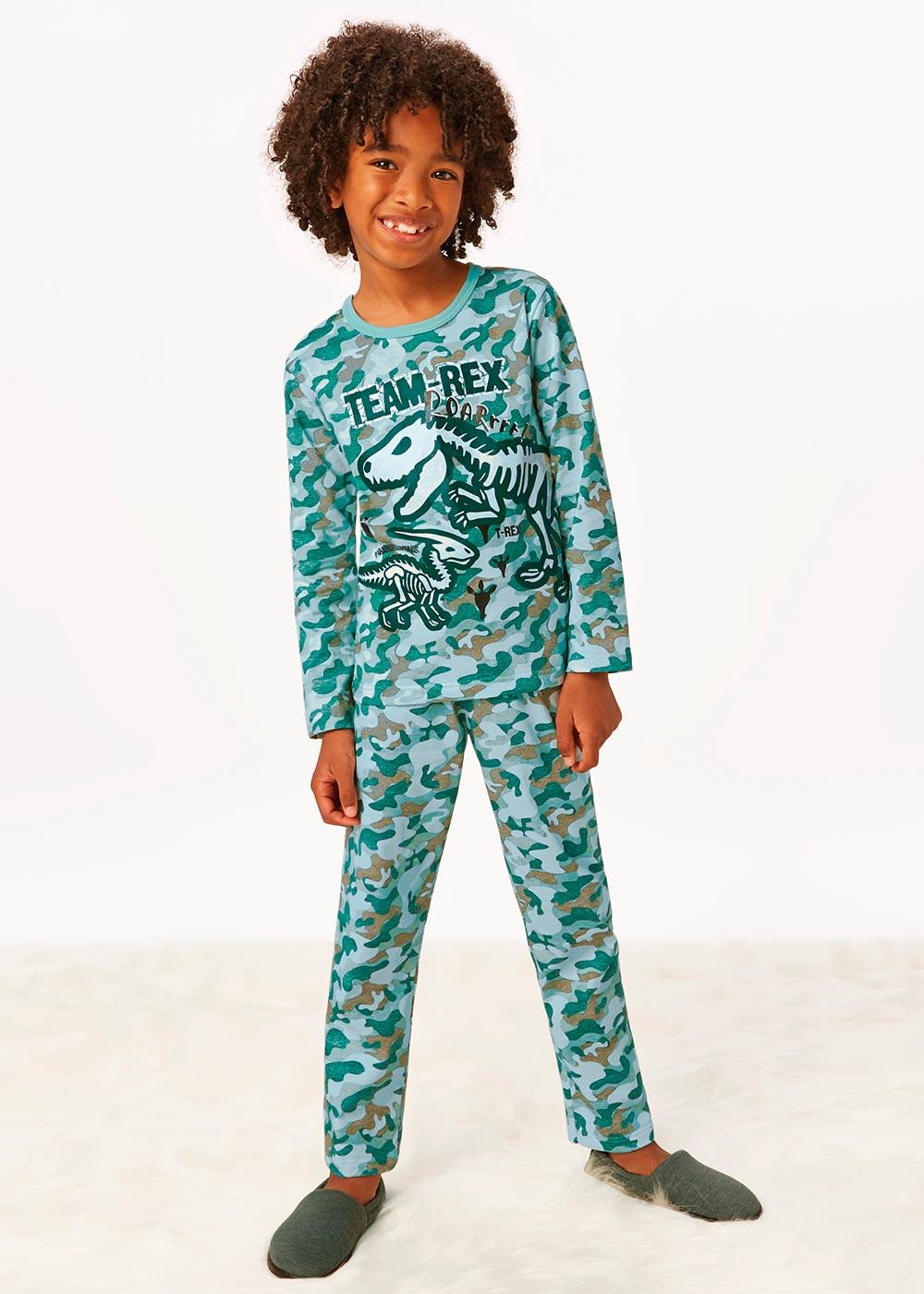 Pijama Infantil Masculino Inverno Verde Team Rex - Malwee