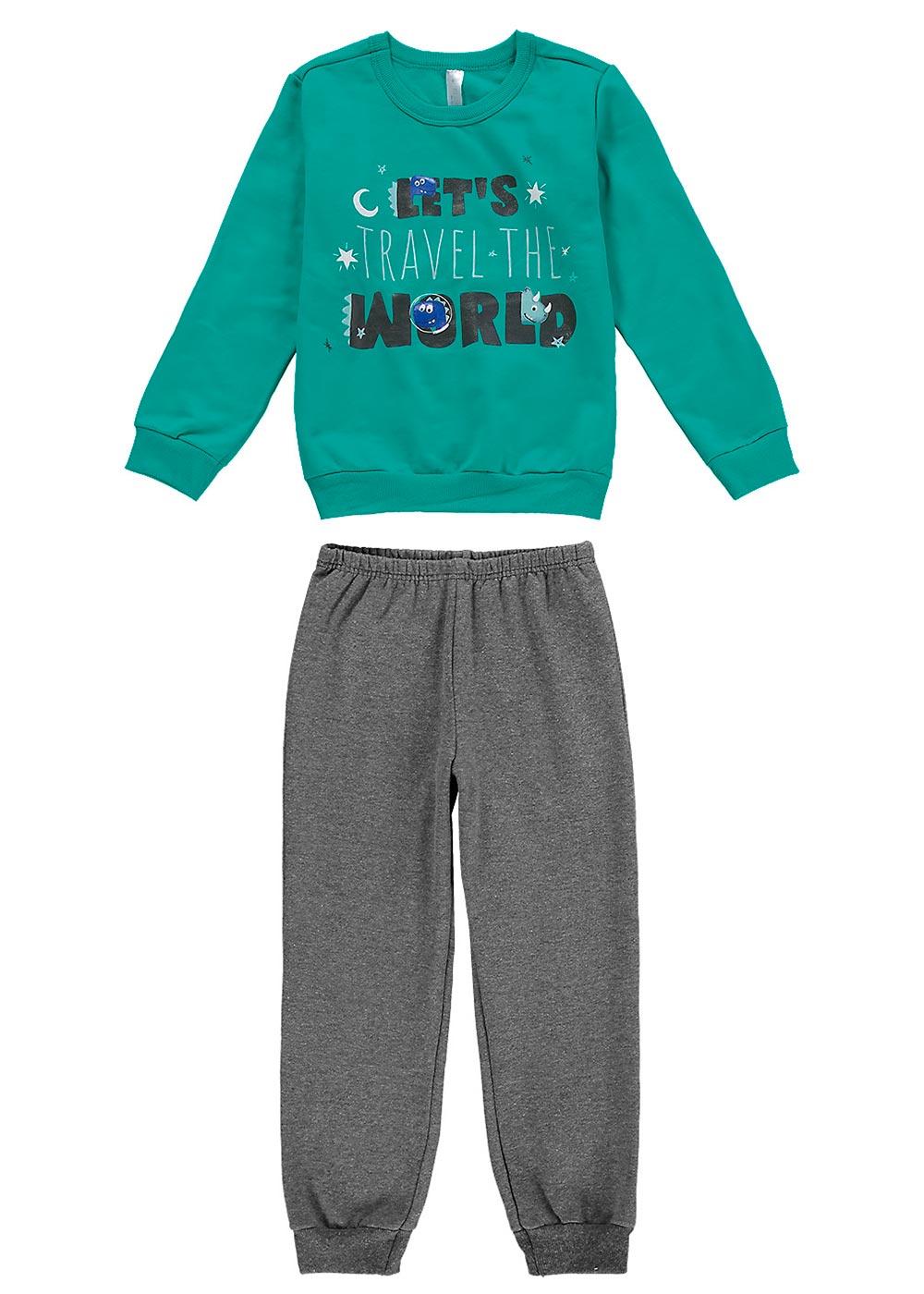 Pijama Infantil Masculino Inverno Verde Travel - Malwee