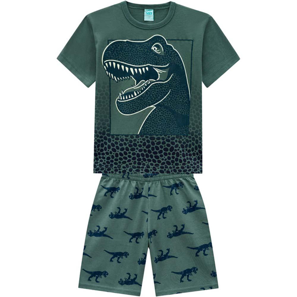 Pijama Infantil Masculino Verão Verde T-Rex Kyly