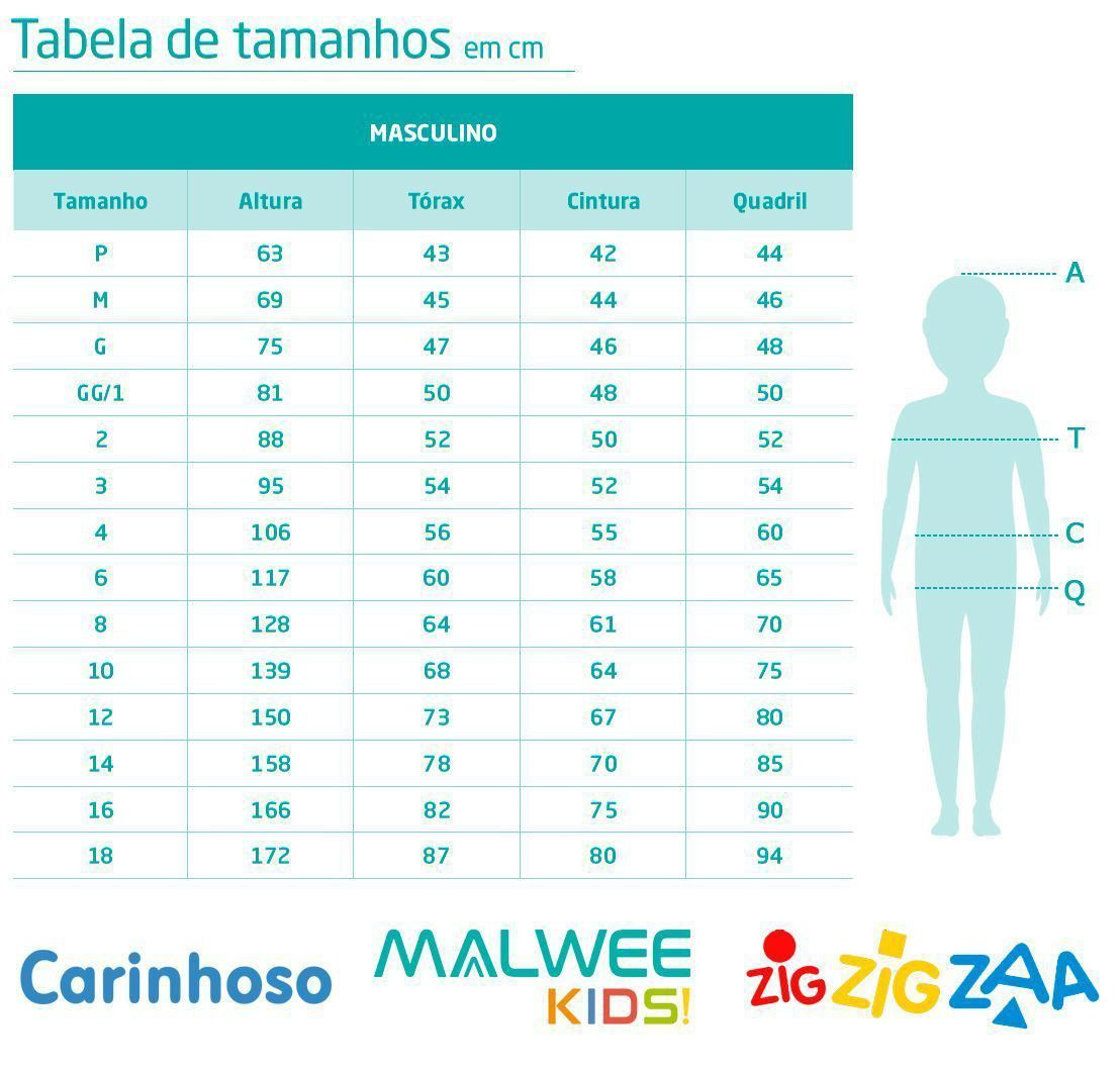 Pijama Infantil Masculino Longo Azul Dinossauros - Malwee: Tabela de medidas