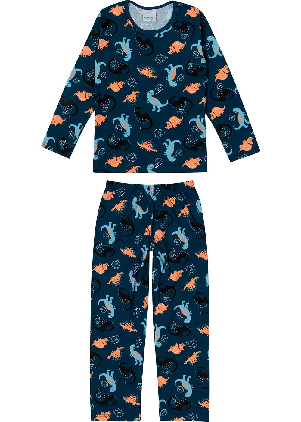 Pijama Infantil Masculino Longo Azul Dinossauros - Malwee