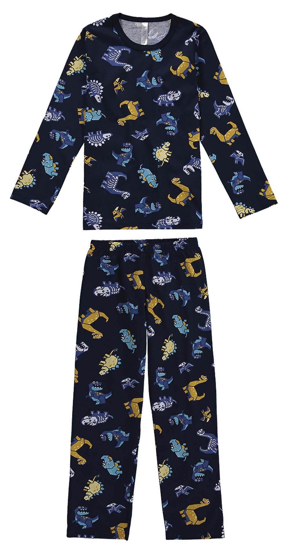 Pijama Infantil Masculino  Inverno Azul Dinos Malwee