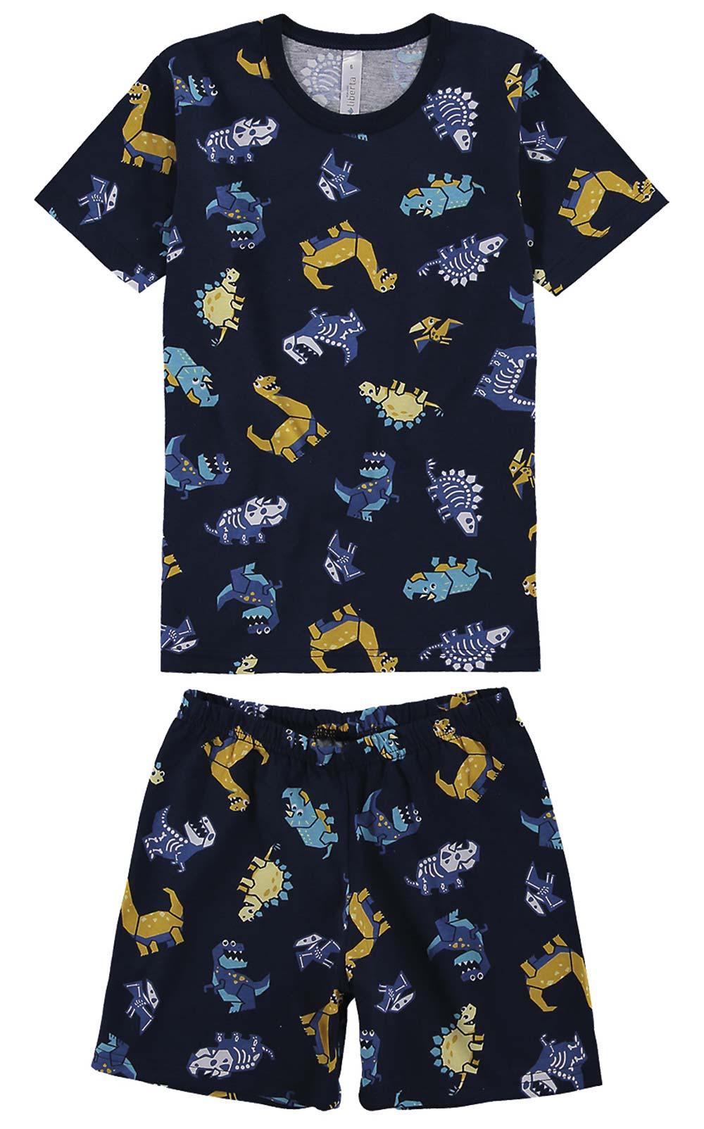 Pijama Infantil Masculino Verão Azul Dino Bones Malwee