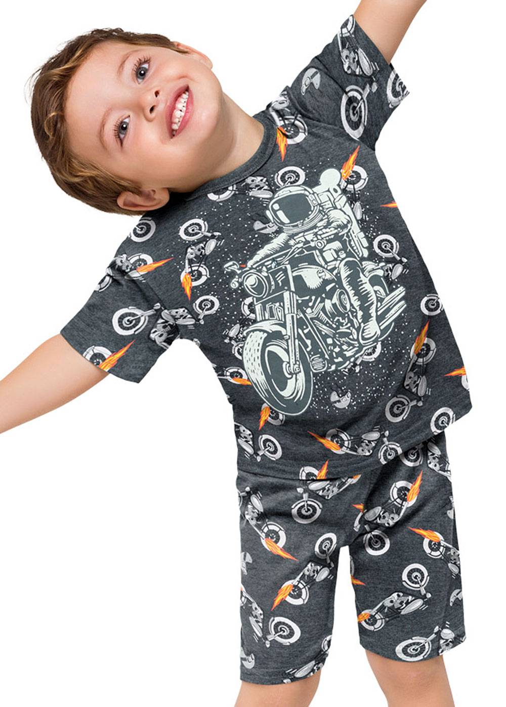 Pijama Infantil Masculino Moto Cinza Brilha no Escuro - Kyly