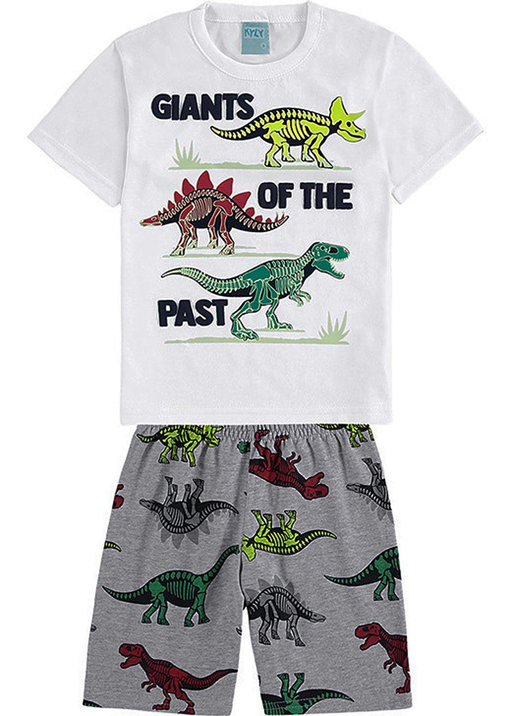 Pijama Infantil Masculino Verão Branco Giants of Past Brilha no Escuro - Kyly
