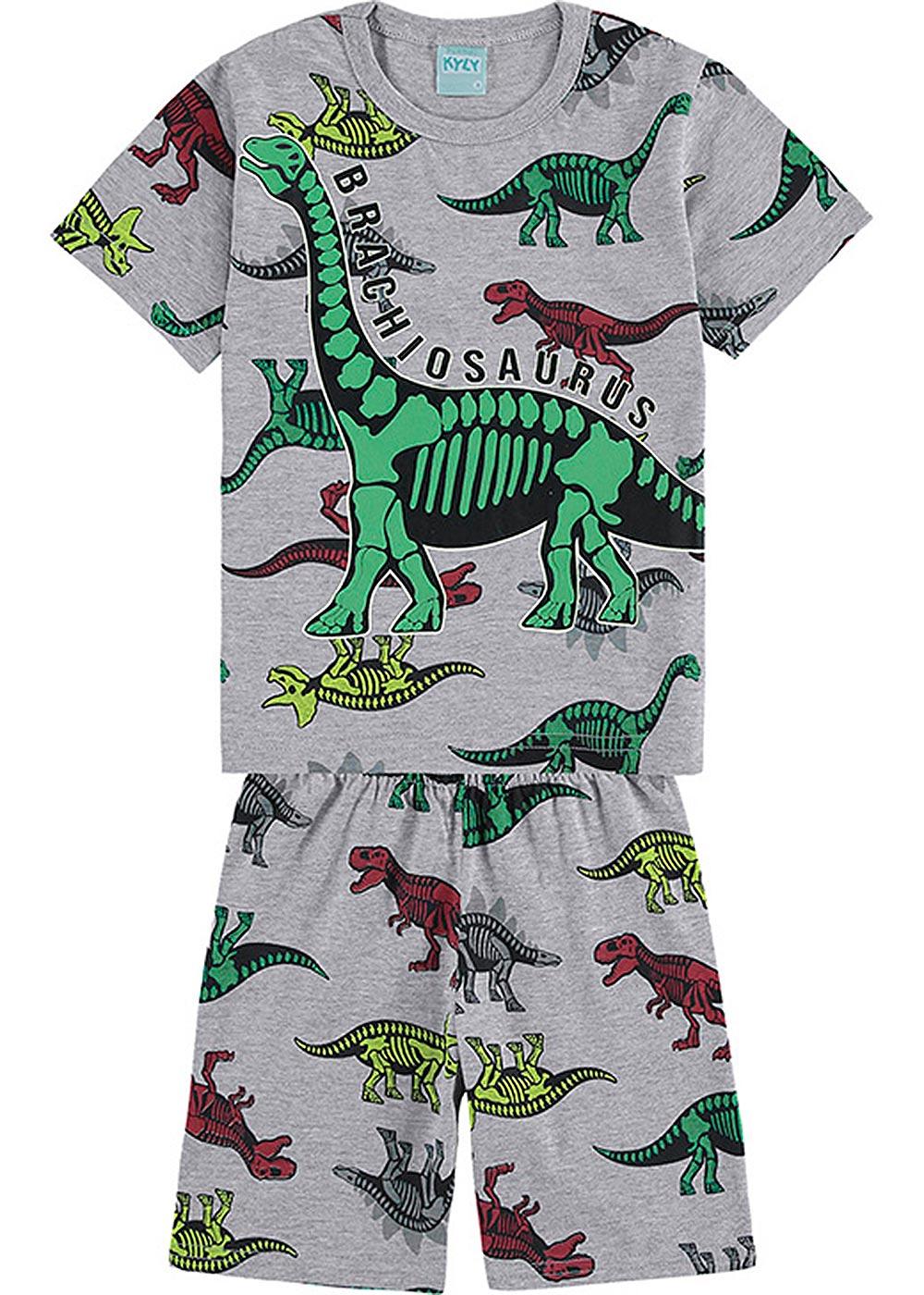 Pijama Infantil Masculino Verão Cinza Brachiosaurus - Kyly