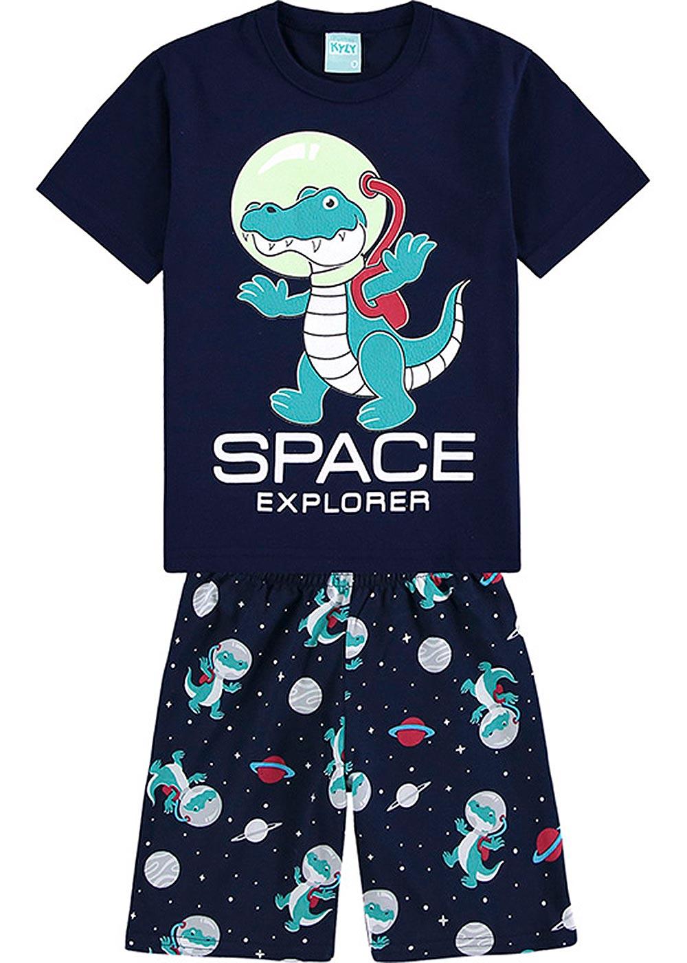 Pijama Infantil Masculino Verão Marinho Space Explorer - Kyly