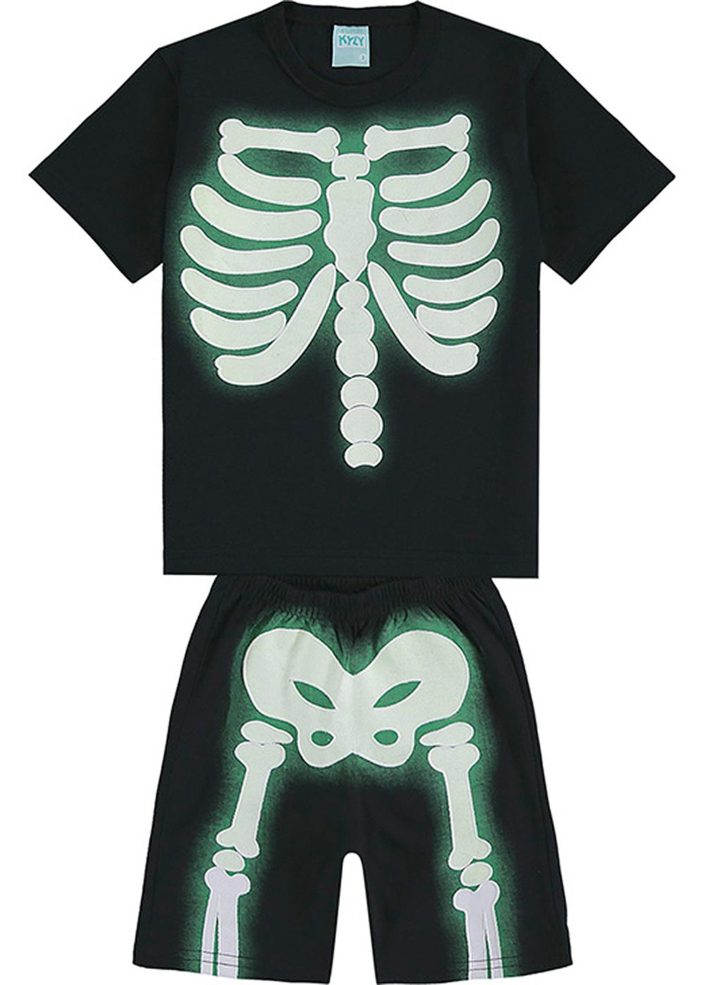 Pijama Infantil Masculino Verão Preto Esqueleto - Kyly