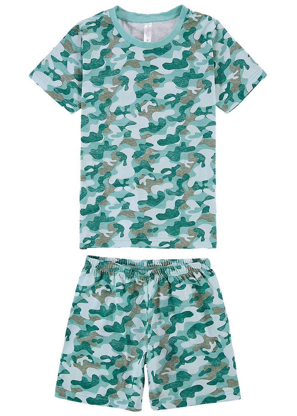 Pijama Infantil Masculino Verão Verde Camuflado - Malwee