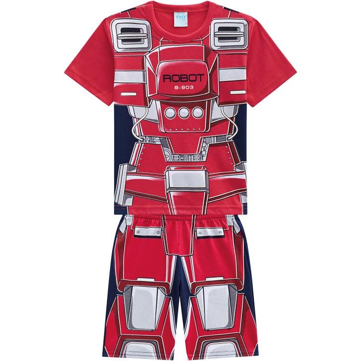 Pijama Infantil Masculino Verão Vermelho Robot Kyly