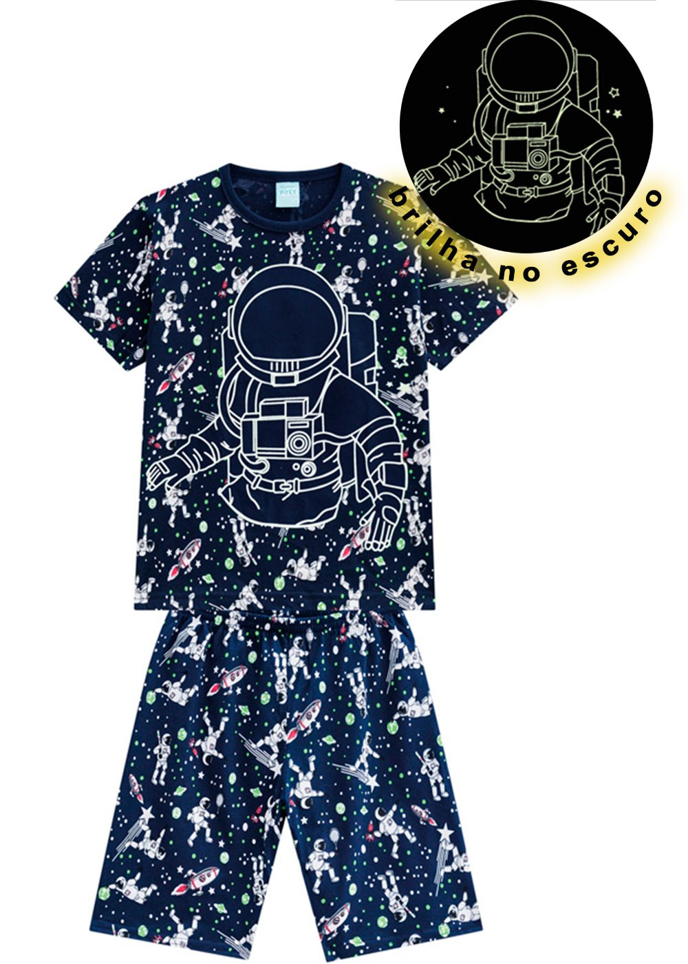 Pijama Infantil MasculinoVerão Azul Astroboy Kyly