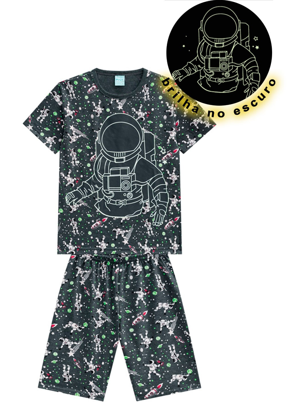 Pijama Infantil Masculino Verão Cinza Astroboy Kyly