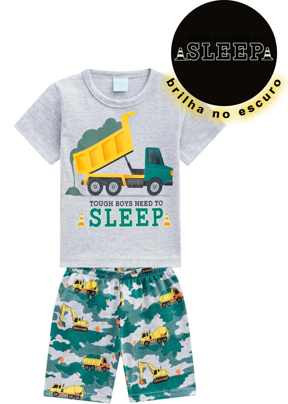 Pijama Infantil Masculino Verão Cinza Sleep Kyly