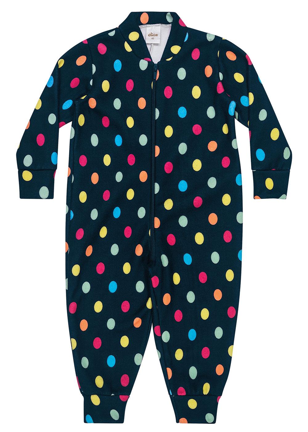 Pijama Infantil Unissex Inverno Azul Poá - Elian