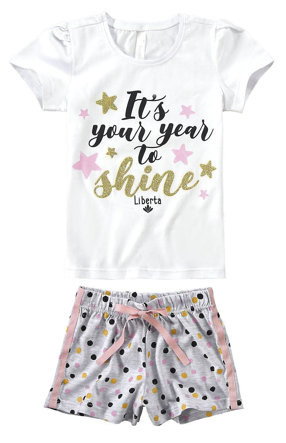 Pijama Infantil Feminino Branco Shine Malwee