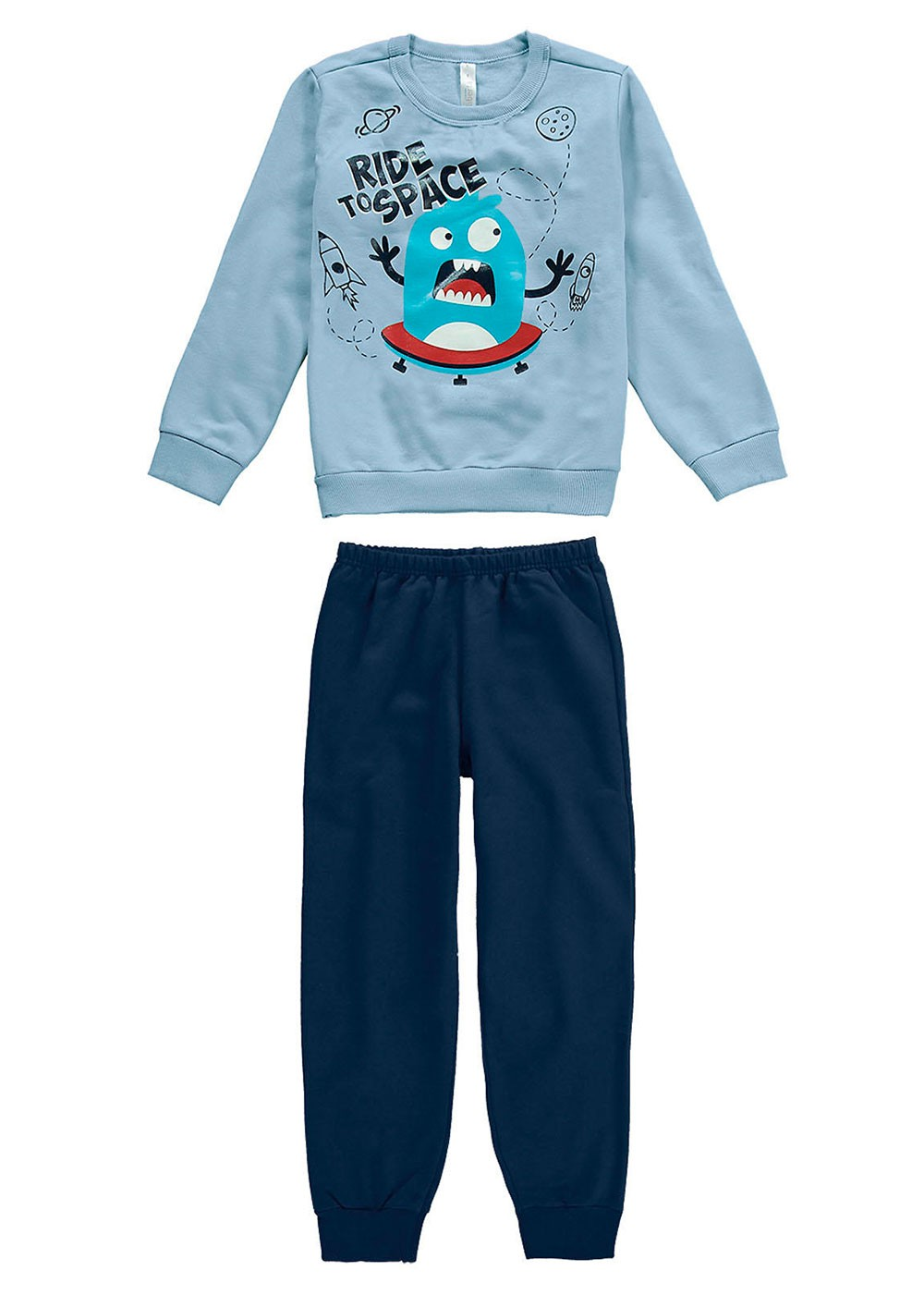 Pijama Moletom Infantil Inverno Azul Ride Malwee