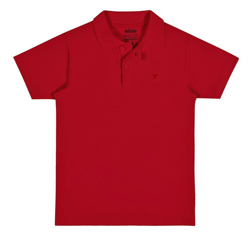 Polo Infantil Masculina Verão Vermelha Elian