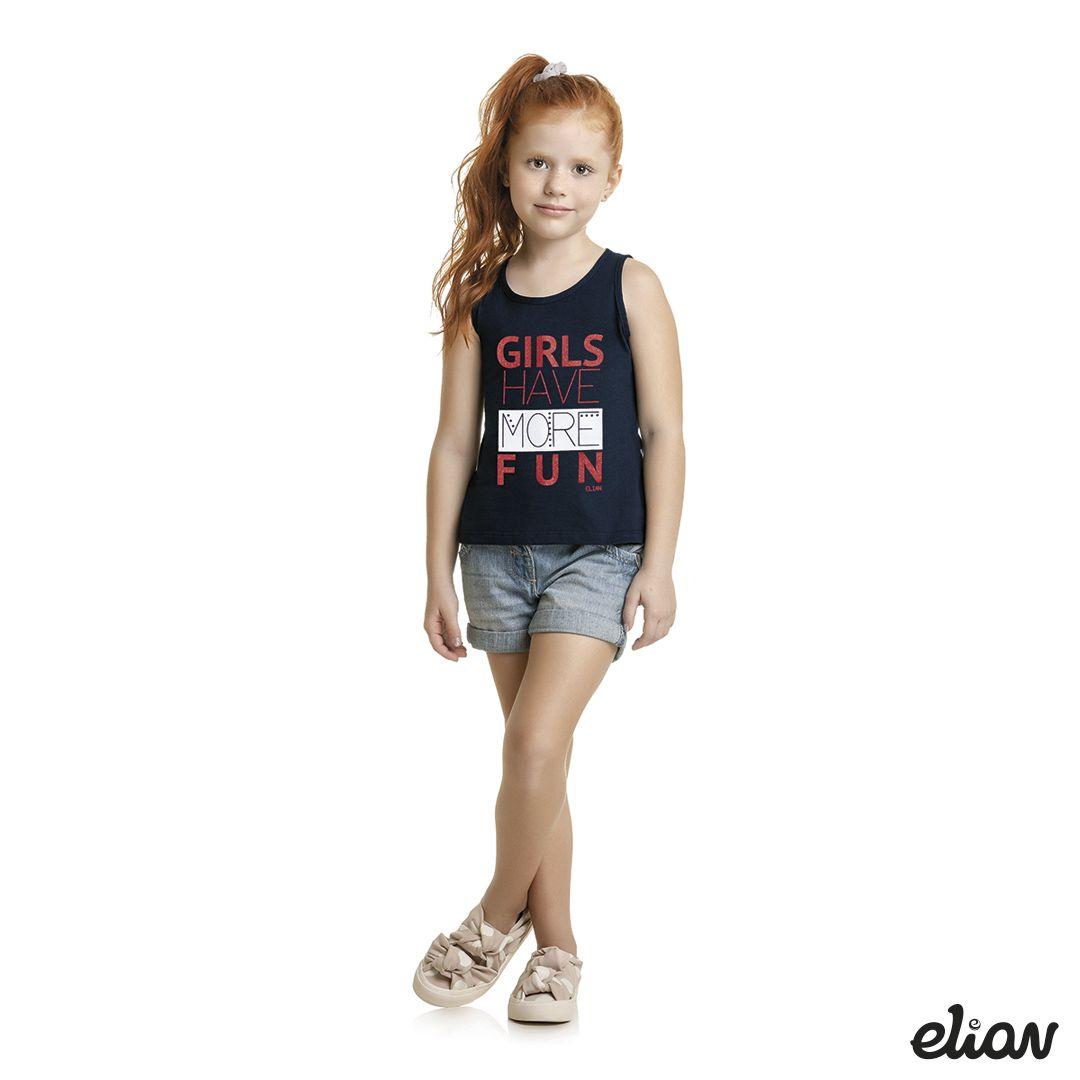 Regata Infantil Feminina Verão Marinho Girls Elian
