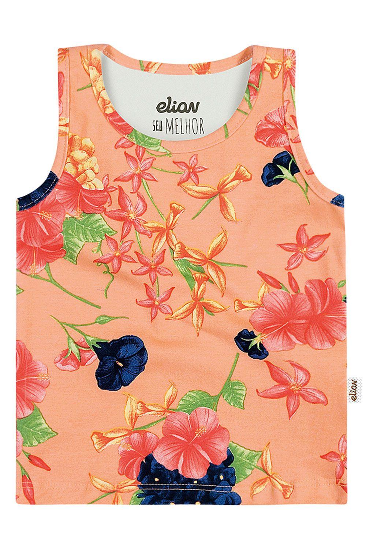 Regata Infantil Feminina Verão Salmão Flores Elian