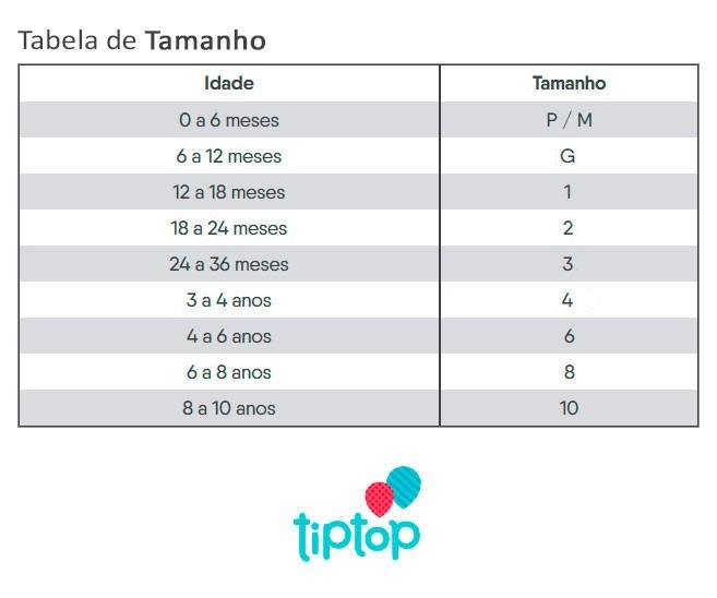 Roupão Infantil Verão Vermelho Tip Top: Tabela de medidas